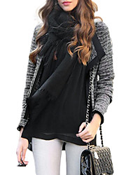 Women's Casual/Daily Simple Jackets,Solid Notch Lapel Long Sleeve Fall / Winter Black Polyester Medium