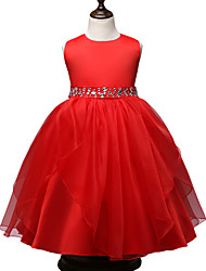Girl's Formal / Party/Cocktail Solid Dress Polyester Pearl Bow Princess Lace Performance Dress