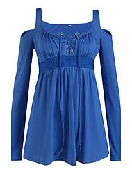 Tee-shirt Femme,Couleur Pleine Décontracté / Quotidien / Grandes Tailles simple Automne Manches Longues Col en UBleu / Rouge / Blanc /
