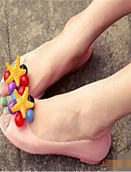 Damen-Sandalen-Lässig-Mikrofaser-Flacher Absatz-Komfort-Blau Rosa