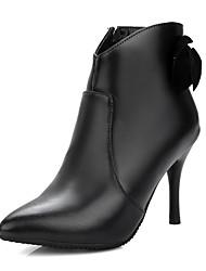 Women's Boots Fall / Winter Leatherette Party & Evening / Dress / Casual Stiletto Heel Bowknot / Zipper Black