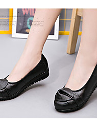 Women's Flats Spring Summer Fall Comfort Leather Casual Flat Heel Split Joint Black Green Others
