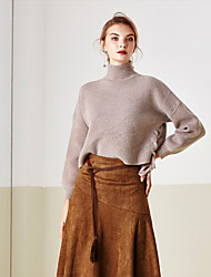 Damen Standard Pullover-Ausgehen / Lässig/Alltäglich Einfach Solide Blau / Braun Rollkragen Langarm Acryl Herbst / Winter Dick