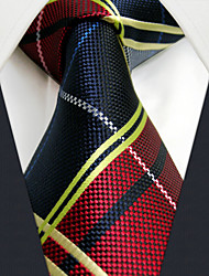 UXL21 Extra Long 63For Men Casual Neckties Handmade Red Blue Checked 100% Silk Handmade Dress Fashion