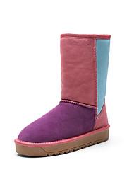 Women's Boots Spring / Fall / Winter Comfort Suede Outdoor / Athletic / Casual Flat Heel Split Joint Purple / Tan Walking