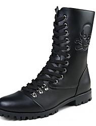 Men's Motorcycle Boots Fashion Leather Martin Boots Flat Heel Zipper / Lace-up Black Walking EU39-43