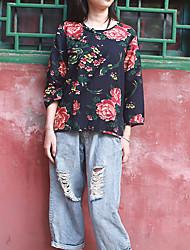 Feminino Camisa Casual Chinoiserie Primavera / Outono,Floral Preto Algodão / Linho Decote Redondo Manga Longa Média