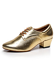 Customizable Women's Dance Shoes Leather Leather Latin / Dance Sneakers / Swing Shoes / Chunky HeelPractice