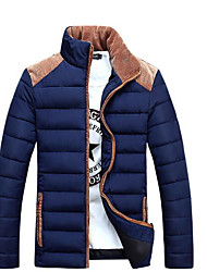 Men's Long Padded Coat,Simple Casual/Daily Solid-Polyester Polypropylene Long Sleeve Blue / Red / Beige / Black