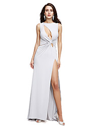 TS Couture® Formal Evening Dress Sheath / Column Jewel Sweep / Brush Train Jersey with Criss Cross