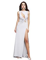 TS Couture® Formal Evening Dress Sheath / Column Jewel Sweep / Brush Train Jersey with Criss Cross