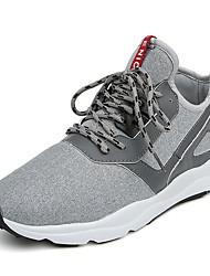 Femme-Extérieure / Bureau & Travail / Décontracté / Sport-Noir / Gris / Gris foncé-Talon Plat-Confort-Sneakers-Tissu