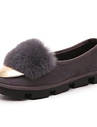 Feminino-Mocassins e Slip-Ons-Conforto / Bailarina / Inovador / Botas da Moda / Sapatos com Bolsa Combinando-Rasteiro-Preto / Cinza-