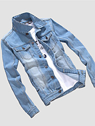 Men's Casual/Daily Simple Denim JacketsSolid Shirt Collar Long Sleeve Spring / Winter Blue Cotton / Polyester Medium