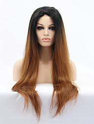 Femme Perruque Synthétique Lace Front Raide Noir / Medium Auburn Cheveux Colorés Ligne de Cheveux Naturelle Perruque Naturelle Perruque