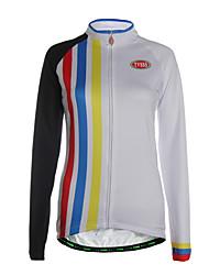 Esportivo Camisa para Ciclismo Mulheres Manga Comprida MotoRespirável / Mantenha Quente / Zíper Frontal / Bolso Traseiro / Tecido Ultra