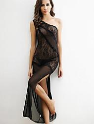 Women Shoulder Oblique Slit Sexy Black Transparent Lace Nightclub Dress Lingerie