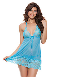 Women Sexy Babydoll Ultra Sexy Nightwear Lace Lingerie Solid-Thin Sheer Nightgown