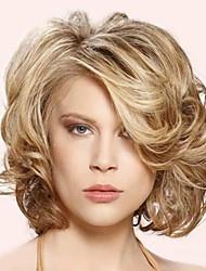 style de la mode blonde cheveux courts ondulés et de couleur marron perruques synthétiques pour les femmes