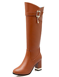 Women's Shoes Chunky Heel Round Toe Zipper Buckle Knee High Boot More Color Available