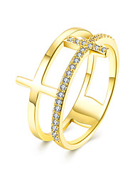 lureme  Fine Jewelry Cubic Zirconia Cross Diamond Ring Engagement Band Ring