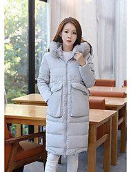 Women's Long Down Coat,Simple Casual/Daily Solid-Polyester White Duck Down Long Sleeve Gray