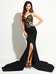 Women's Club Sexy Swing Dress,Floral Strap Asymmetrical Sleeveless Black Polyester / Spandex Summer
