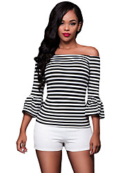 Women's Black White Stripes Off-the-shoulder Top