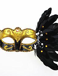 máscara de penas 1pc para o dia das bruxas traje do partido cor aleatória