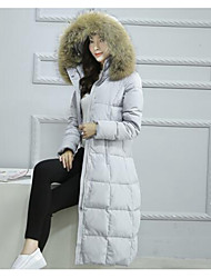 Women's Long Down Coat,Simple Casual/Daily Solid-Polyester White Duck Down Long Sleeve Black / Gray