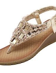 Damen-Sandalen-Kleid Lässig-PU-Plateau-Plateau-Silber Gold