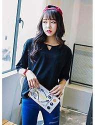 Damen Solide Einfach Lässig/Alltäglich T-shirt,Rundhalsausschnitt Sommer ½ Länge Ärmel Mehrfarbig Baumwolle Mittel