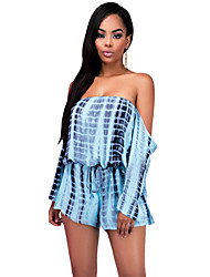 Blue Off-the-shoulder Long Sleeves Tie Dye Drawstring Playsuit