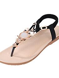 Для женщин Сандалии Удобная обувь Полиуретан Лето Повседневные Удобная обувь Кристаллы На эластичной ленте На плоской подошвеЧерный