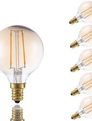 2W E12 Ampoules à Filament LED G16.5 2 COB 160 lm Ambre Gradable V 6 pièces