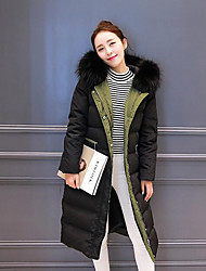 Women's Long Down Coat,Simple Casual/Daily Solid-Polyester White Duck Down Long Sleeve