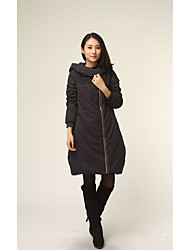 Women's Padded Coat,Simple Going out Solid-Cotton Polyester Long Sleeve Hooded Red / Black / Gray / Green