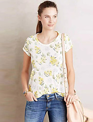 Women's Going out Cute Summer T-shirt,Floral Round Neck Short Sleeve White Cotton / Polyester Medium