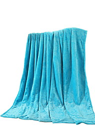 Bedtoppings Blanket Flannel Coral Fleece Queen Size 200x230cm Sky Blue Solid 210GSM