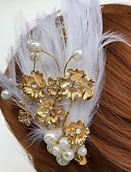 Mulheres Penas Strass Liga Acrilíco Capacete-Casamento Ocasião Especial Casual Flores Clip para o Cabelo 1 Peça