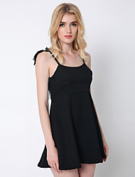 1287 Women's Casual/Daily / Club Sexy Angel wings A Line Strap Above Knee Sleeveless White / Black Cotton / Polyester