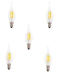 5pcs 6W E14 LED Filament Bulbs CA35 6 COB 550LM Warm / Cool White Edison Retro Glass(AC220-240V)