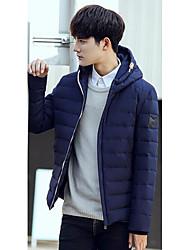Masculino Casaco Capa,Simples Sólido Casual-Poliéster Penas de Pato Branco Manga Longa Colarinho Chinês Azul