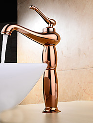 Contemporary / Modern Centerset Widespread with  Ceramic Valve Single Handle One Hole for  Rose Gold , Bathroom Sink Faucet