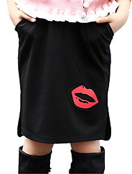 Girl's Going out Red Mouse Print Split Solid Skirt