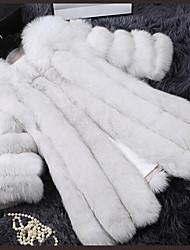 Women's Casual/Daily Simple Fur Coat,Patchwork V Neck Long Sleeve Winter White / Black Faux Fur Medium