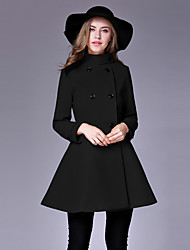 Women's Formal / Work Punk & Gothic / Sophisticated CoatSolid Stand Long Sleeve Fall / Winter Blue / Red / Black