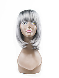 Hot Style Grey Mixed Silver Two Tones Natual Bob Hair Style With Straight Bangs Synthetic Capless Wigs