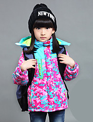 Girl's Sports Color Block / Patchwork Down & Cotton Padded Print Thickness Jacket