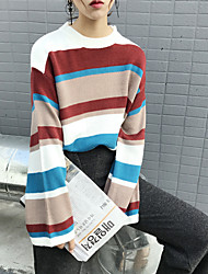 Sign harbor wind chic striped hit color spell color round neck hedging horn sleeve knit sweater jacket